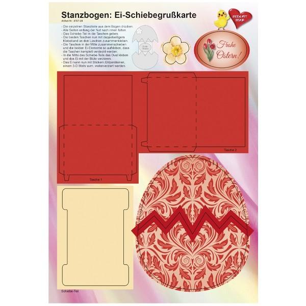 Stanzbogen, Ei-Schiebegrußkarte, DIN A4, Design 8