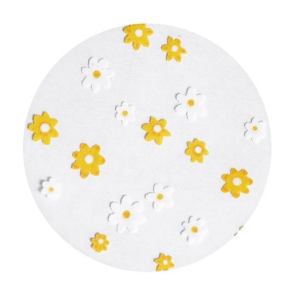 Organza-Kreise, Ø8cm, 50 Stück, Kleine Blüten, orange/weiß