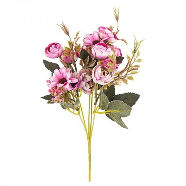 Blütenbusch, Rosen & Margeriten, 28cm hoch, 15 große Blüten Ø 2,5cm, Beerentöne