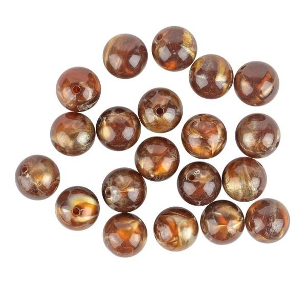 Perlen, Rund, marmoriert, Ø 1,5cm, bernstein-hellgold, 15 Stück