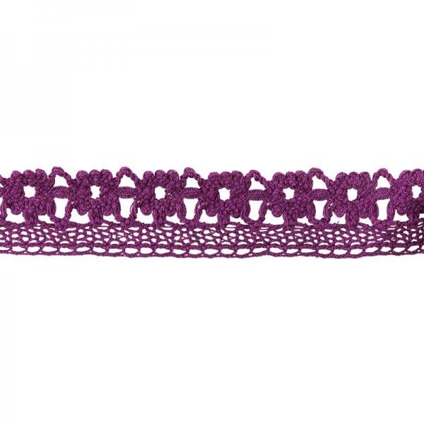 Häkelspitze Design 7, 2cm breit, 2m lang, aubergine