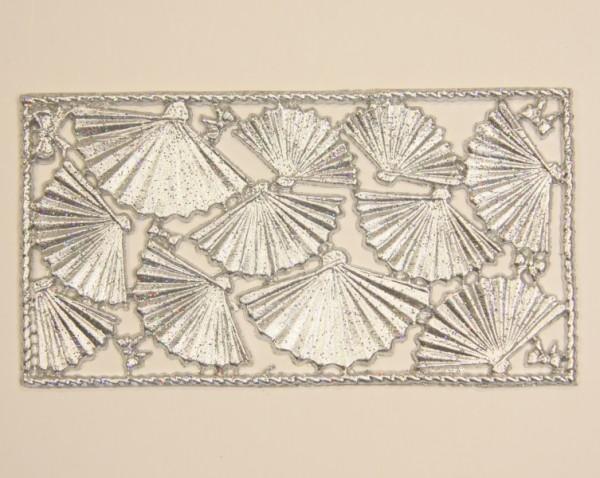 Wachsornament-Platte Fächer, 16 x 8 cm, silber mit Glimmer