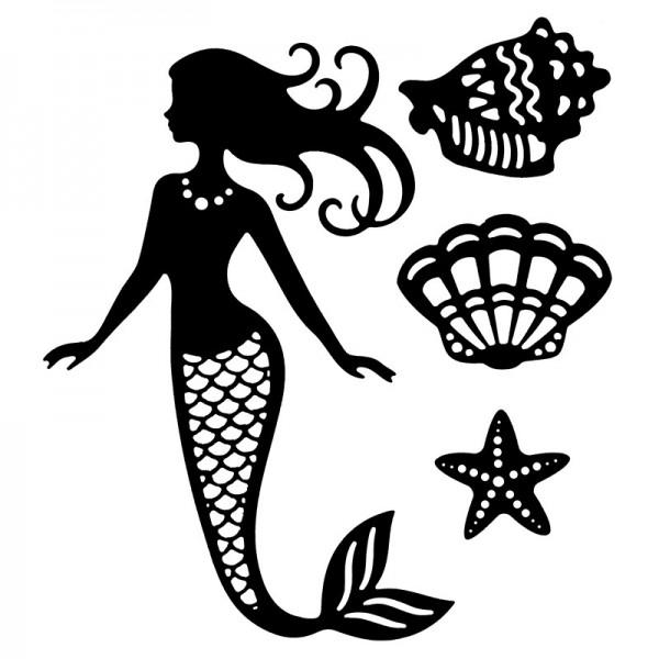 Stanzschablonen, Meerjungfrau, 4 Stück