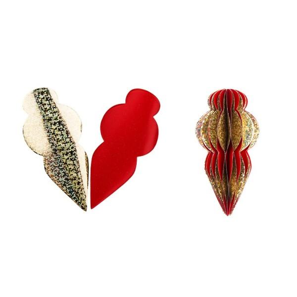 Waben-Stanzteile, Zapfen 2, holografie-gold/rot, 5cm x 10,5cm, 100 Stück