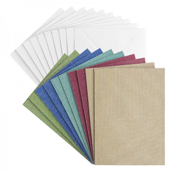 Grußkarten, Glitzer-Leinen, B6 (11,5cm x 16,5cm), 5 Farben, inkl. Umschläge, 10 Stück