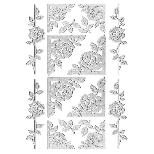 3-D Sticker, Deluxe Rosenranken & Rahmen, selbstklebend, silber