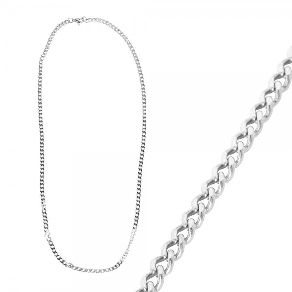 Glieder-Halskette, aus Edelstahl, Design 2, 50cm lang, Stärke: 3mm, silber