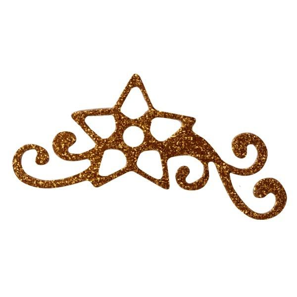 Glitzer-Ornamente, 25er Set, 3,5x6,5cm, Stern 1, kupfer-gold