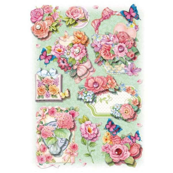 3-D Stickerbogen, Blumen/rosa, mint, 12,7 x 18,8 cm