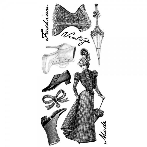 Feinkontur-Stempel, Motive auf Trägerfolie, Vintage Fashion