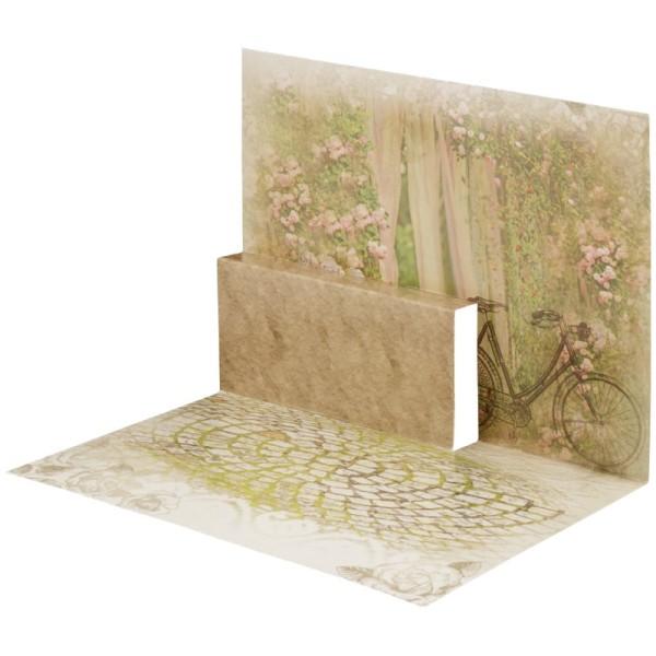 Pop-Up-Grußkarten-Einleger, gefaltet 11 x 15,5 cm, Garten/Rad