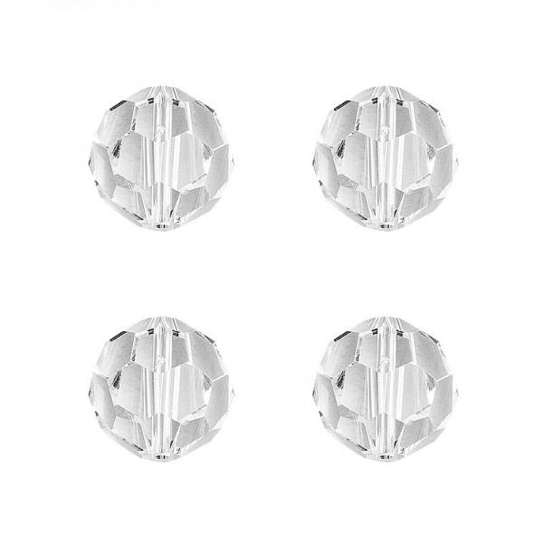 Glaskunst, Perlen, Kugel, Ø 1,8cm, facettiert, klar, 4 Stück