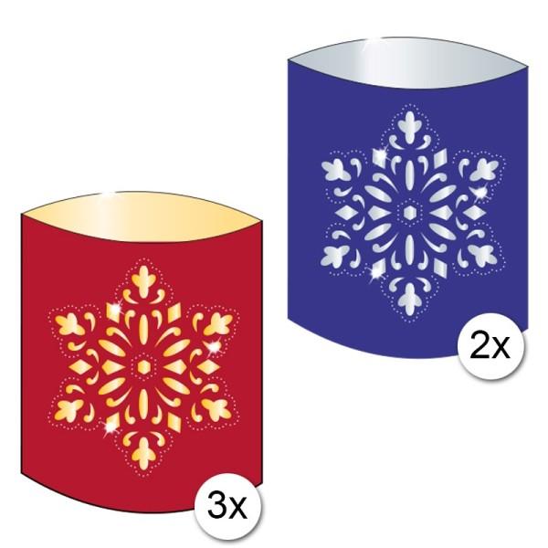 """Spiegel-Prickelleuchten """"Schneekristall""""/""""Eiskristall"""", 14,5 x 18 cm, 5 Stück"""