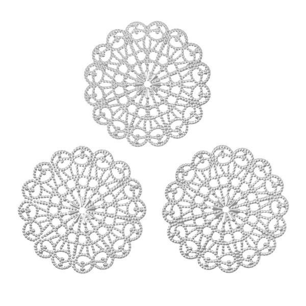 Metall-Ornamente, Design 34, Ø 8,1cm, silber, 3 Stück