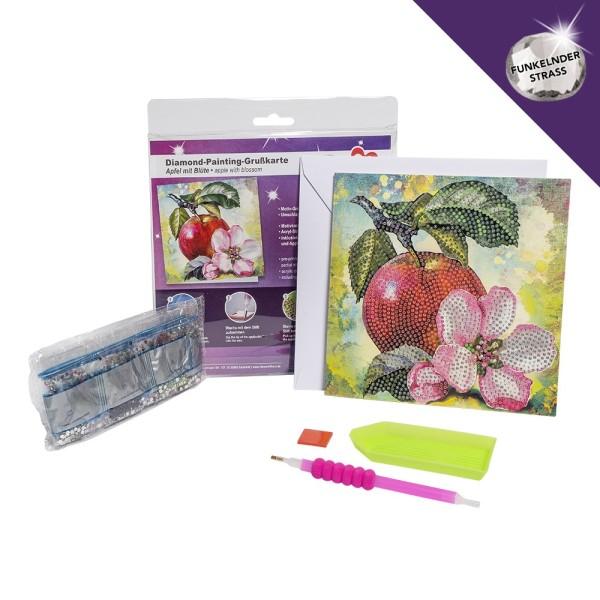 Diamond-Painting-Grußkarte, Strass, Apfel mit Blüte, 16cm x 16cm, inkl. Umschlag & Werkzeug
