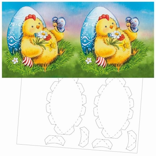 Prickel-Karte, Küken mit Schmetterling, inkl. Böden & Ecken, 16cm x 16cm