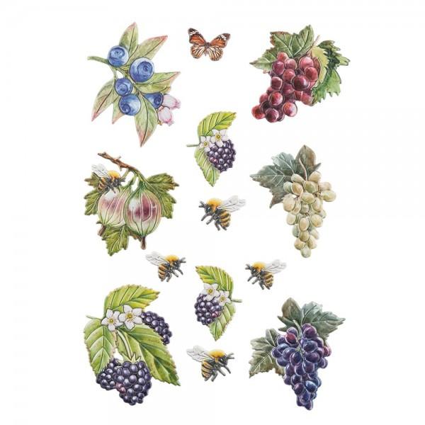 3-D Relief-Sticker, Beerenvielfalt 2, verschiedene Größen, selbstklebend