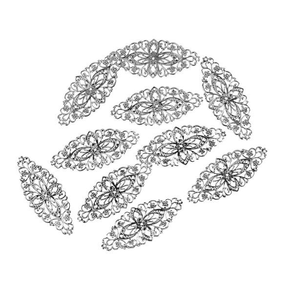 Metall-Ornamente, Design 2, 8,1cm x 3,5cm, silber, 10 Stück