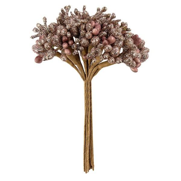Festliche Beerenzweige, 11,5cm, roségold, teilweise mit Glitzer, 12 Stück