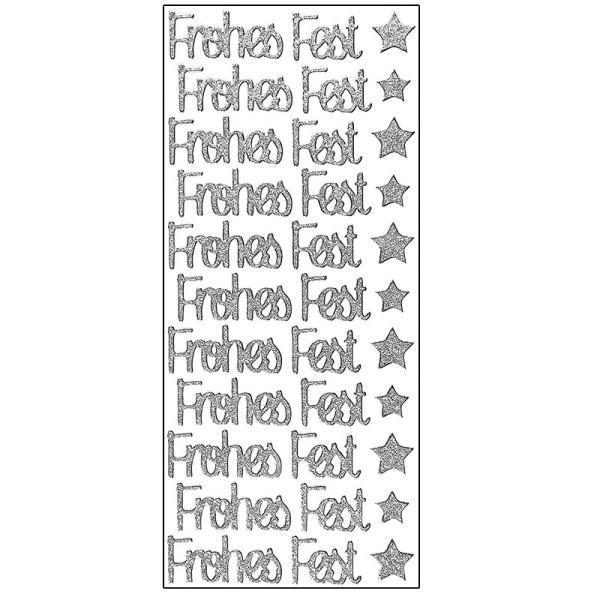 Microglitter-Sticker, Frohes Fest, silber