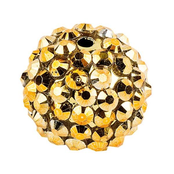 Kristall-Perlen, Ø 18mm, gold, 10 Stück