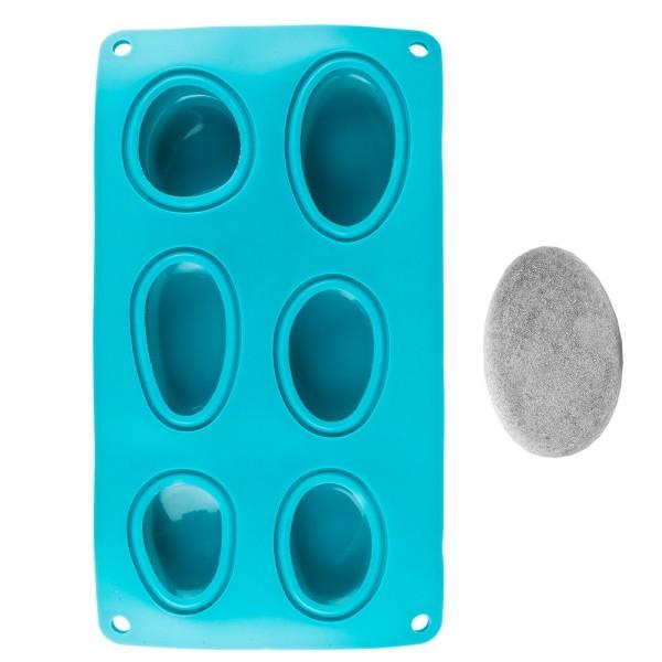 Silikonform, Steine, für 6 Steine in verschiedenen Größen
