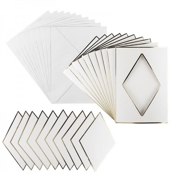 3-Fach Grußkarten, Passepartout Raute, B6, Naturweiß, inkl. Umschläge, 10 Stück