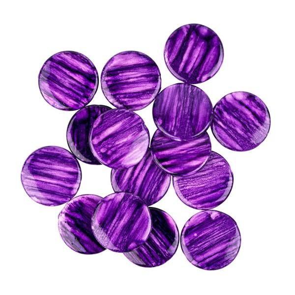 Perlen, Scheiben, glänzend, Ø 2,5cm, Amethyst-Optik, violett, 16 Stück