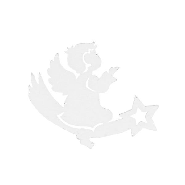 Engel auf Sternschnuppe, Holz, 8,8cm x 6,6cm x 0,5cm, weiß, 16 Stück