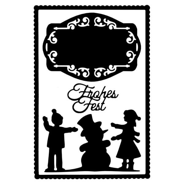 Stanzschablonen, Winterkinder & Frohes Fest, 4 Stück
