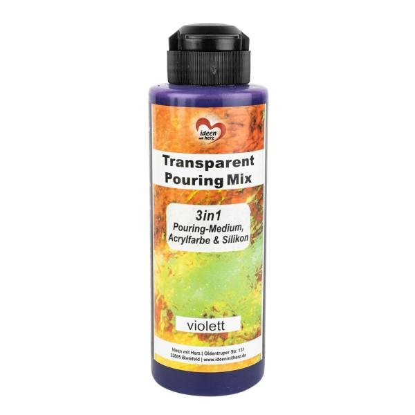 Transparent-Pouring-Mix, 3 in 1, Medium, Acrylfarbe & Silikonöl, violett, 180 ml