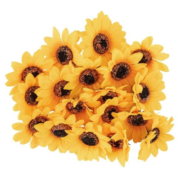 """Deko-Blüten """"Sonnenblume"""", Ø 7cm, gelb, 18 Stück"""