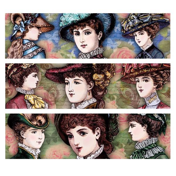 """Zauberfolien """"Damen mit Hut"""", Schrumpffolie für Ø9cm, 8,5 cm hoch 6 Stück"""