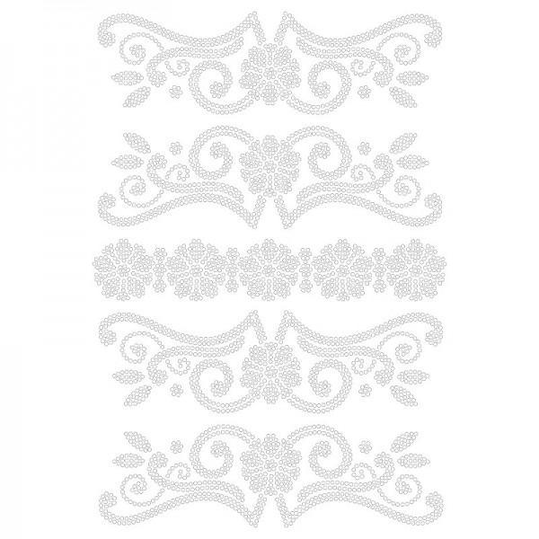 Bügelstrass-Design, DIN A4, klar, Blumen-Ornamente 2