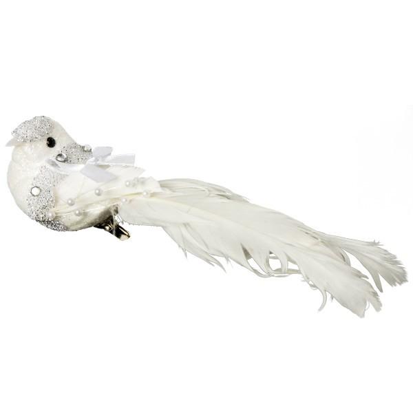 Deko-Federvögel mit Klammer, weiß, 15 x 4 cm, 2er Set