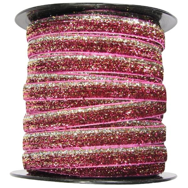 Glamour Deko-Band auf Rolle, 9mm x 40m, pink-magenta