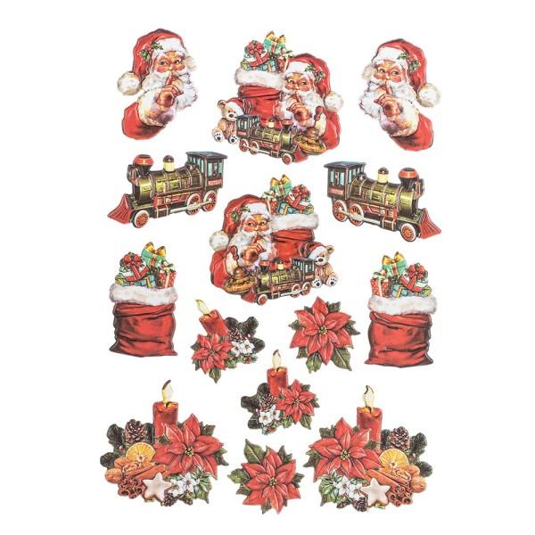 3-D Relief-Sticker, Vintage-Weihnachten 3, verschiedene Größen, selbstklebend