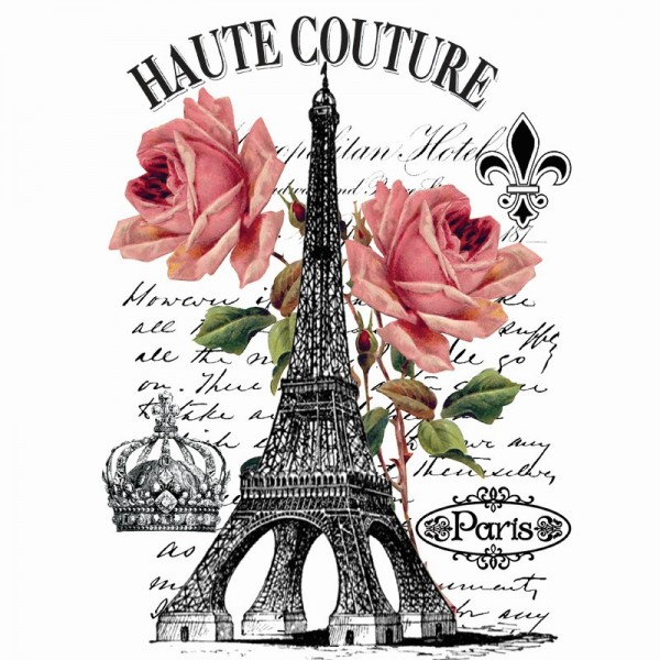 Color Bügeltransfers, DIN A4, filigran ohne Hintergund, Vintage Eiffelturm