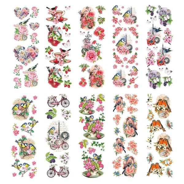 Transparent-Stickerbogen, Vintage Vögel & Schmetterlinge, versch. Designs, 10cm x 30cm, 10 Bogen