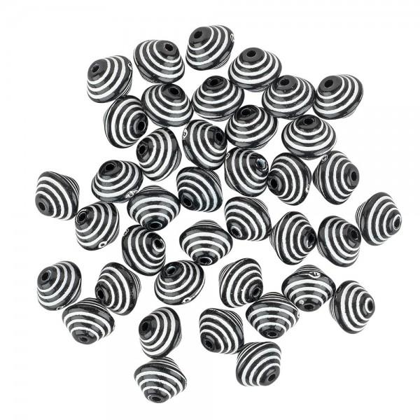 Perlen, Raute, 1,1cm x 1,4cm, schwarz-weiß, 38 Stück