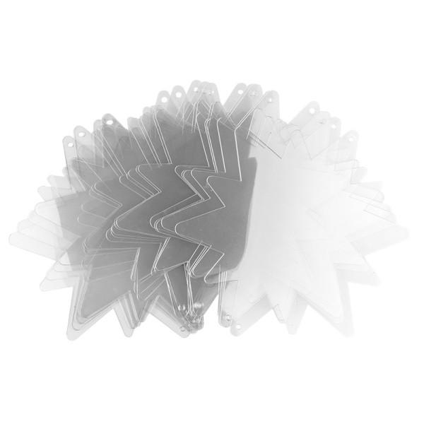 Windradfolien-Scheiben, Stern 2, 16cm x 14cm, transparent, 500µ, 20 Stück