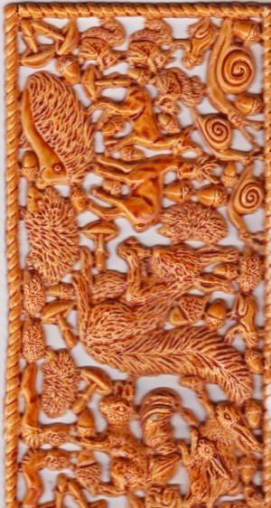 Wachsornament-Platte Waldtiere, 16 x 8 cm, hellbraun