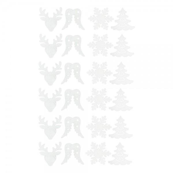 Streudeko, Vielfalt, 3,2cm bis 4cm, 2mm stark, weiß mit irisierendem Glitzer, 24 Stück