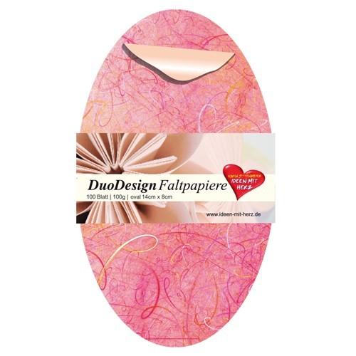 DuoDesign Faltpapier, oval, 14 x 8 cm, 100 Blatt, rosa