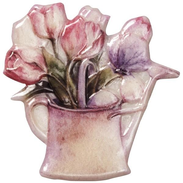 Wachsornament Blumenvasen 10, farbig, geprägt, 7cm