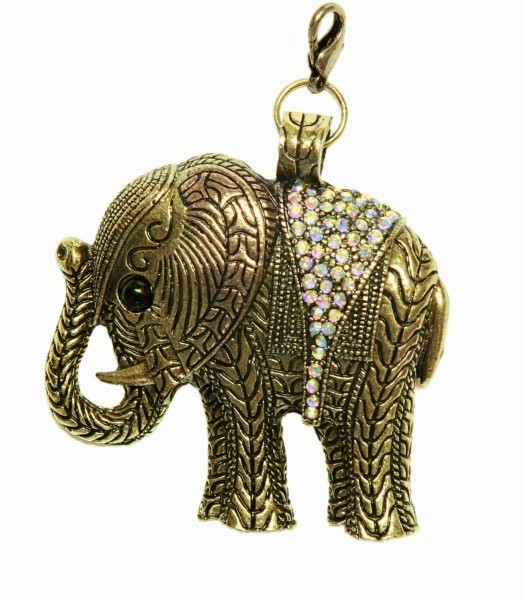 Schmuckanhänger Elefant, 5,9 x 5,4 cm, messingfarben