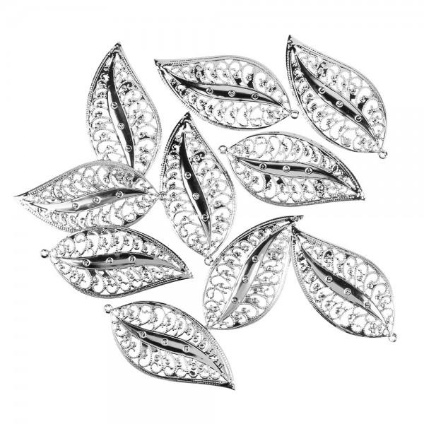 Metall-Ornamente, Blatt 7, 8,4cm x 4cm, silber, 10 Stück