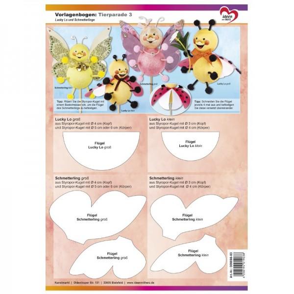 Vorlagenbogen, DIN A4, Tierparade 3, Lucky Lo & Schmetterlinge