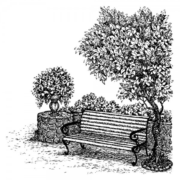 Feinkontur-Stempel, 15 x 15 cm, Bank
