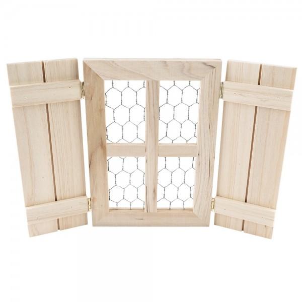 Fenster mit Fensterläden, Holz, geschlossen: 20cm x 14cm x 2,5cm, aufgeklappt: 28,5cm x 20cm x 1,5cm